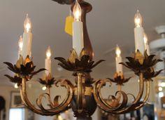 Vintage Lighting at Knots & Weaves #KnotsAndWeaves #VintageLighting #Chandelier #Gold