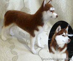 Портретная скульптура собаки сибирский хаски - валяные вещи, портретная кукла. МегаГрад - online выставка-продажа авторской ручной работы