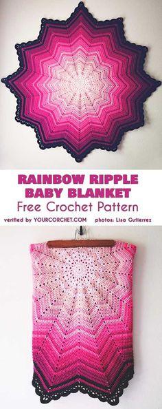 Rainbow Ripple Baby Blanket Free Crochet Pattern #freecrochetpatterns #babyblanket #crochetblanket #crochetpattern #babyshowergifts