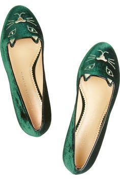 Charlotte Olympia Kitty embroidered velvet slippers NET-A-PORTER.COM