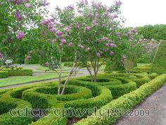 Celtic,flowers, green and purple = Millenium Gardens in Ireland