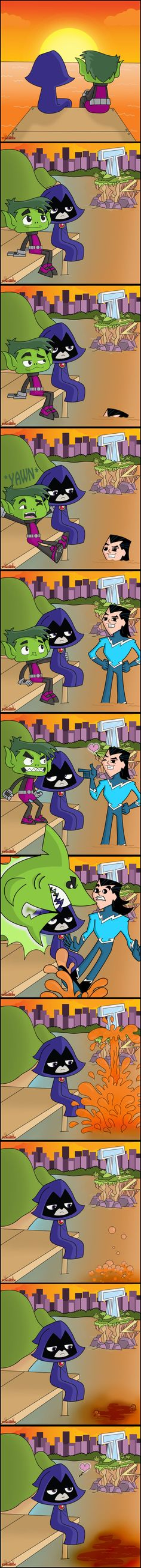 Had a oppritunity to quickly find signal and upload this lovely bbrae idea from Teen Titans Tv Series, Teen Titans Love, Teen Tians, Drama Total, Raven Beast Boy, Bbrae, Couple Cartoon, Funny Comics, Dc Comics