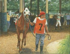 Don Langeneckert Art Print featuring the painting #7 Leading Horse At Racetrack by Don Langeneckert