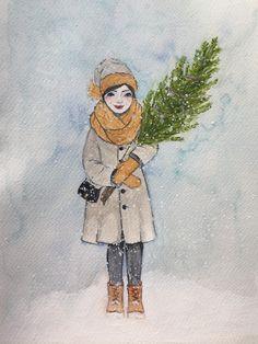 Girl with christmastree