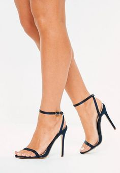 Missguided Navy Satin Skinny Barely There Heels Navy High Heels, Navy Shoes, Shoes Heels, Funky Shoes, Beautiful High Heels, Lovely Legs, Women Legs, Women's Feet, Ankle Strap Heels