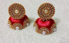 Red and gold pearls Designer Silk Thread Jhumka Silk Thread Earrings Designs, Silk Thread Jhumkas, Silk Thread Bangles Design, Silk Thread Necklace, Silk Bangles, Thread Jewellery, Gold Jewellery, Jewellery Bracelets, India Jewelry
