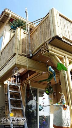Amazing DIY bamboo loft/treehouse with latch door and pulley system