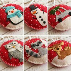 Wool Felt Raccoon Christmas ornament / Red background - Folt Bolt Shop