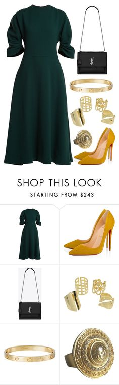 """""""Confrontation"""" by staysaneinsideinsanity ❤ liked on Polyvore featuring Emilia Wickstead, Christian Louboutin, Yves Saint Laurent, Cartier and Versace"""
