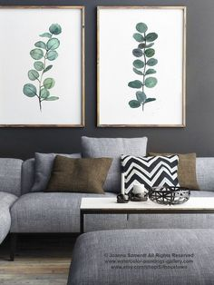 Eucalyptus Branch Watercolor Painting, set of 2 Eucalyptuses Green Living Room Wall Decoration, Scandi Decor Botanical Poster, Kitchen Print #greenroom