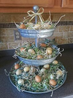 Pottery Barn galvanized tray decorated for Spring: