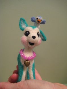 Needle Felted Deer with Little Bluebird by MelaniesMenagerie, $32.00
