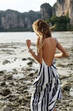 backless striped maxi dress perfect for summer
