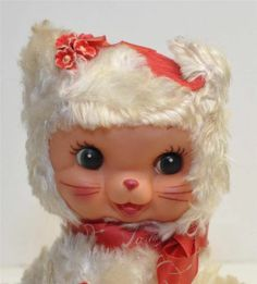 VINTAGE RUSHTON STAR CREATIONS VALENTINE KITTY CAT PLUSH RUBBER FACE TAGGED VGC