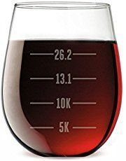 Running wine glass for half marathon, marathon. Gift ideas for runners with running quotes, whether for running beginners, or for ultra, or trails. Can be good for high school and college students for cross country or track too.