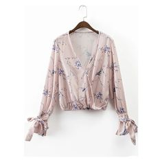 Light Pink Floral Print Wrap Blouse With Bow Tie ($19) ❤ liked on Polyvore featuring tops, blouses, wrap blouse, flower print blouse, floral-print blouses, light pink top and floral blouses