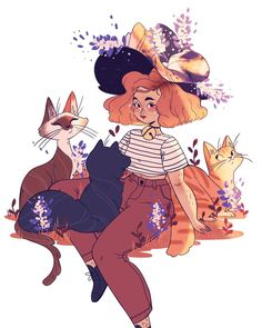 Getting back to my #alphabeticwitches with a redo of my cat witch!! I wasn't ever 100% on the first one I did but I love this one so much!! She's so cute! I may even make this a print soon! #witch #illustration #kitty #witchcraft