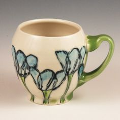 Handmade Mug, Porcelain, with Tulips