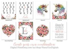 Unicorn Combination Prints. Use the links below to create your own Combo for nursery, girls room, shabby chic decor, personalized alphabet