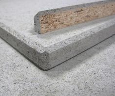Smart design idea: use msg or other substrate with concrete on top, makes the whole structure lighter! LightBeton' from Richter Furniertechnik