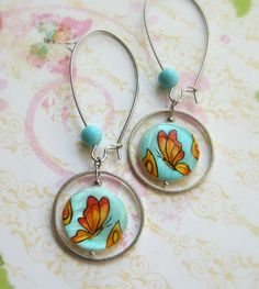 Butterfly earrings handpainted Italian jewelry