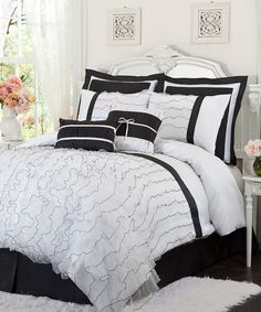 Love the black and white...the ruffles make it romantic