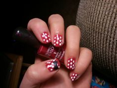 Minni Mouse Nail Polish! I used a sharpie paint pen for the dots ~ Mindy!