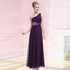 Ever Pretty Womens One Shoulder Purple Long Evening Dresses 08061 US Size 10 #EverPretty #OneShoulder #Formal