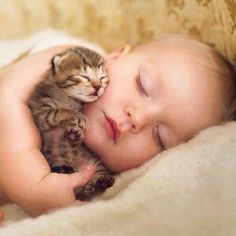 I HAD TO PIN THIS,IT LOOKS JUST LIKE MY SON IAN WHEN HE WAS A #BABY CUDDELING WITH OUR #CAT. CHERIE