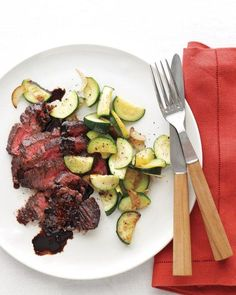 Balsamic Steak with Garlic Zucchini Recipe