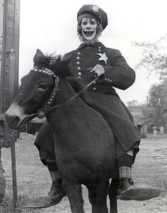 """vintage photograph policeman clown on a donkey or horse  """"Cole Bros. Circus- Joe Lewis"""""""