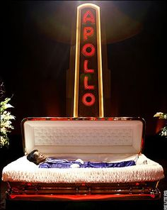 James Brown open casket at The Apollo Theatre.