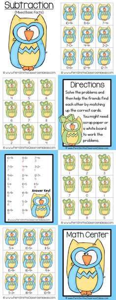 Quick and Easy to Prep - Mixed Subtraction Basic Facts Center Game #TPT #FernSmithsClassroomIdeas