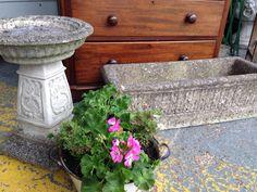 Garden stone birdbath & long trough window box