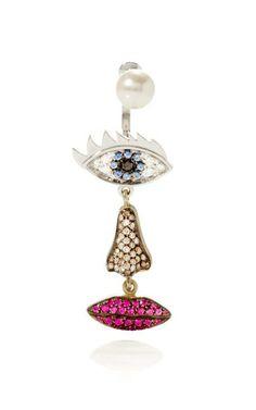Polifemo Earring by Delfina Delettrez for Preorder on Moda Operandi www. Jewelry Crafts, Jewelry Box, Jewelery, Jewelry Accessories, Fine Jewelry, Jewelry Design, Italian Jewelry, Bling, Earrings
