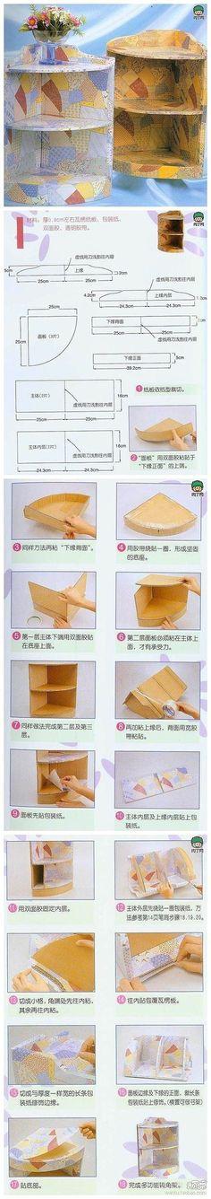 Planos para estantería rinconera hecha con cartón