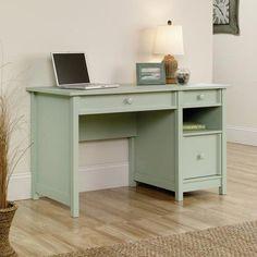 Sauder Cottage Desk 30 14 H x 52 12 W x 23 12 D Rainwater Soft Green by Office Depot & OfficeMax Home Desk, Home Office Desks, Home Office Furniture, Office Decor, Furniture Decor, Office Ideas, Bedroom Furniture, Nice Furniture, Furniture Projects