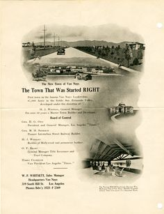 Brochure for W. P. Whitsett's free automobile tour to Van Nuys around 1912. Whitsett owned half interest in the town and was one of its greatest promoters. Los Angeles Valley College Historical Museum. San Fernando Valley History Digital Library.