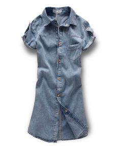 Short Sleeves Washed Denim Blouse
