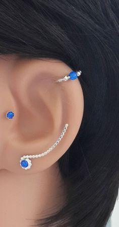 Fire Blue Opal 3mm Ear Climbers-Sterling Silver Ear Climbers-20Gauge Handcrafted