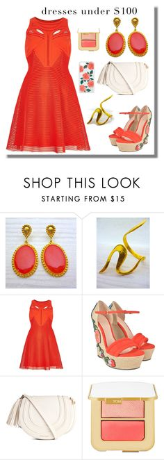 """Dress under 100$ - Orange Dress - Evangelos Jewellery"" by evanangel on Polyvore featuring River Island, Gucci, Tom Ford, Sonix and vintage"