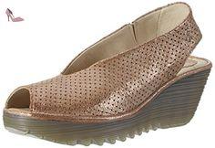 FLY London Yazu736 - Escarpins Bout ouvert - Escarpins Bout ouvert - femme - Brun (Luna 010) - 39 EU - Chaussures fly london (*Partner-Link)