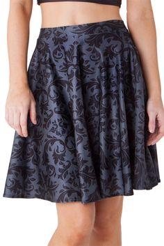 Black Damask Pocket Skater Skirt - LIMITED