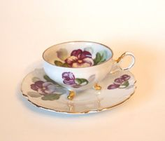 Vintage Ucagco China Tri Footed Teacup with  Purple Pansies - Japan - Mid Century by HouseofLucien, $32.00