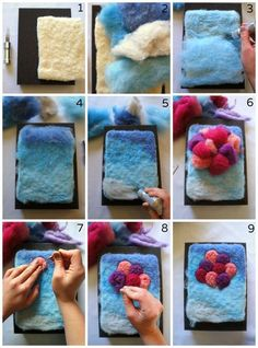 Felted Wool Crafts, Felt Crafts, Fabric Crafts, Wet Felting Projects, Needle Felting Tutorials, Felt Projects, Diy Laine, Felted Soap, Felt Pictures