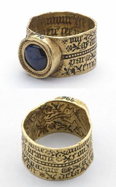 """Love-ring with play on grammar, made in France or England in the 15th century (source). """" The inside of this broad hoop is engraved with a lady, amidst flowers and foliage, holding a squirrel (a symbol of inconstancy) on a leash, while the outside is..."""