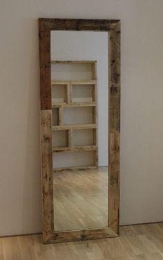 Heritage pallet mirror & pallet bookcase