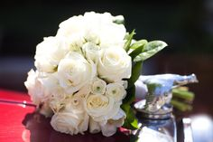 Bride's bouquet option - mix of roses and spray roses, a few mini-calla lilies