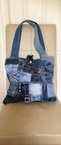 Jeans Handbag, Jeans Tote Bag, Denim Handbag, Denim Tote Bag, Upcycled Jeans Bag, Upcycled Denim Bag, Shabby Chic Handbag, Boho Handbag by MrsMzSewingRoom on Etsy https://www.etsy.com/listing/545177212/jeans-handbag-jeans-tote-bag-denim