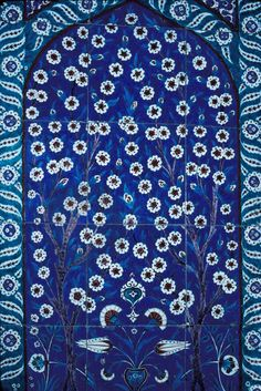 16th century Iznik tiles are one of many Ottoman glories. This tile panel covers a wall of the Circumcision Pavilion in Istanbul's Suleymanye, Turkey ~ Photo by...Daniel Nadler©